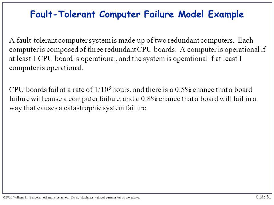 Fault-Tolerant Computer Failure Model Example