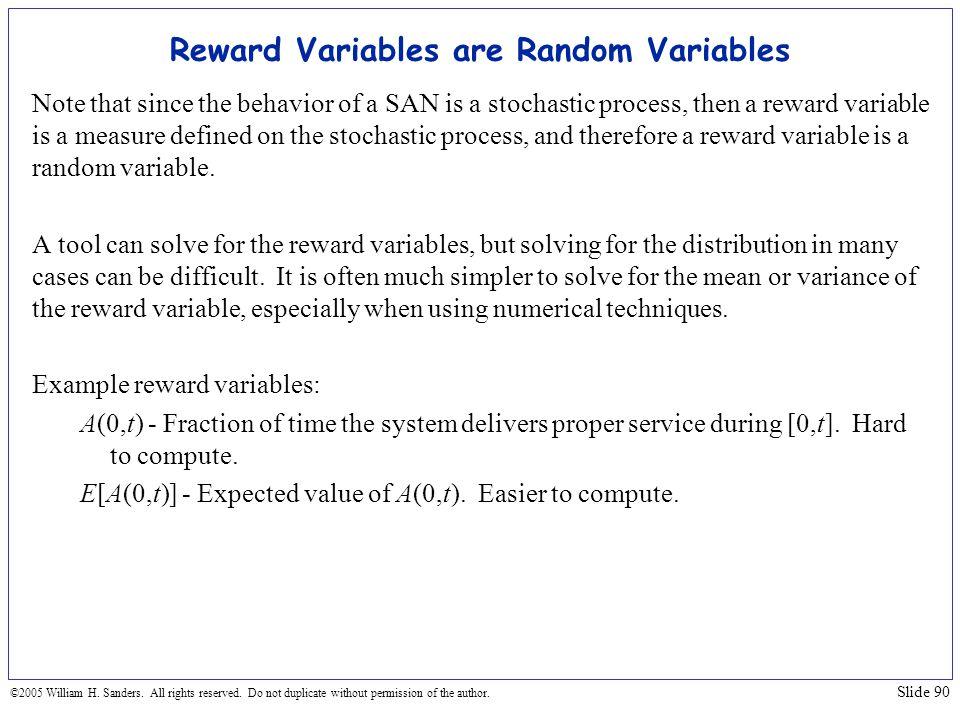 Reward Variables are Random Variables