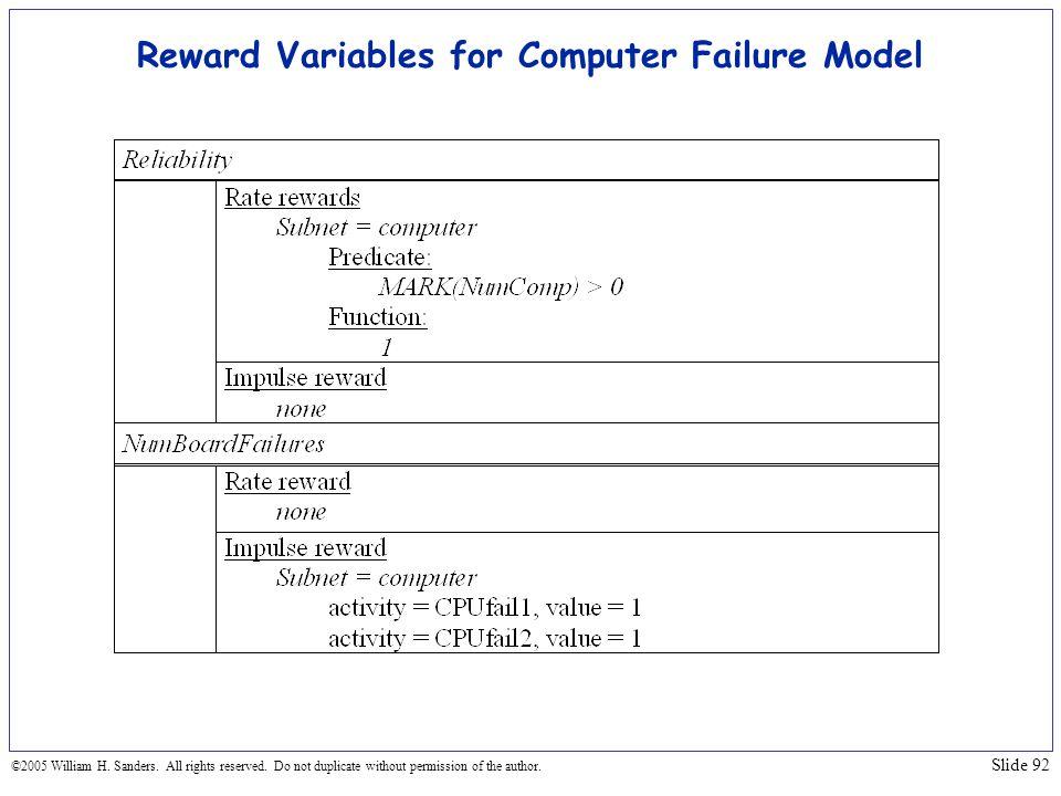 Reward Variables for Computer Failure Model