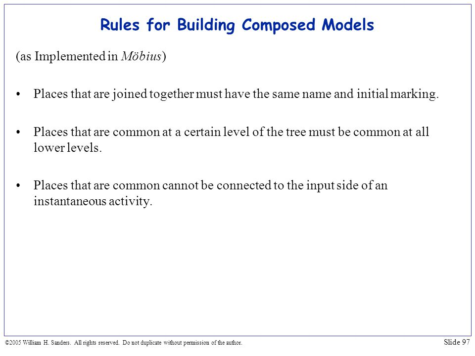 Rules for Building Composed Models