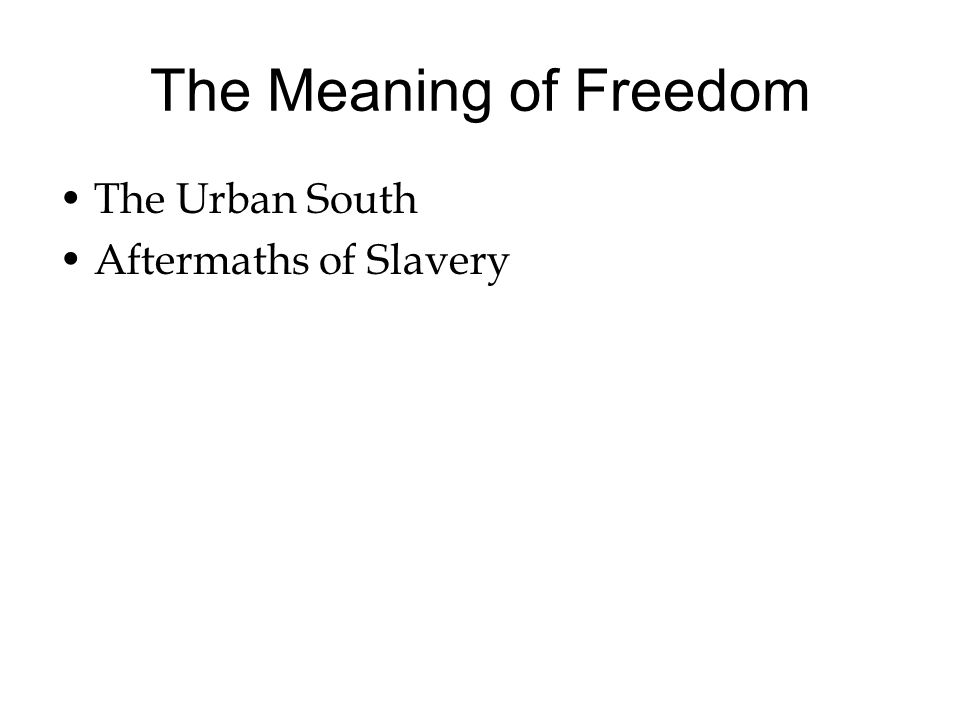 The Meaning of Freedom The Urban South Aftermaths of Slavery