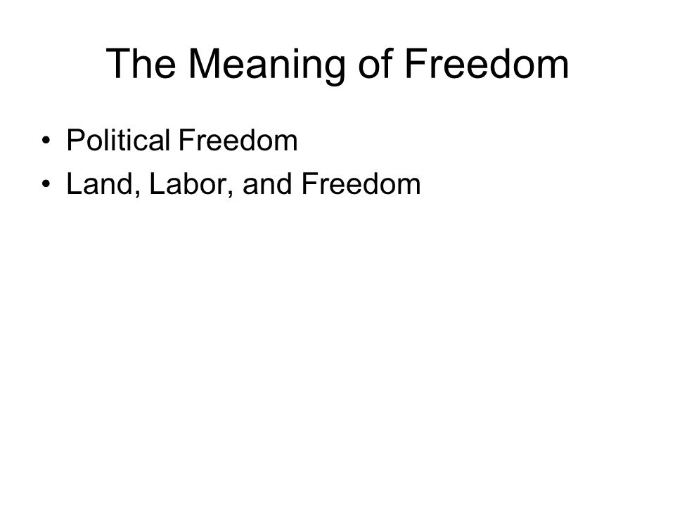 The Meaning of Freedom Political Freedom Land, Labor, and Freedom