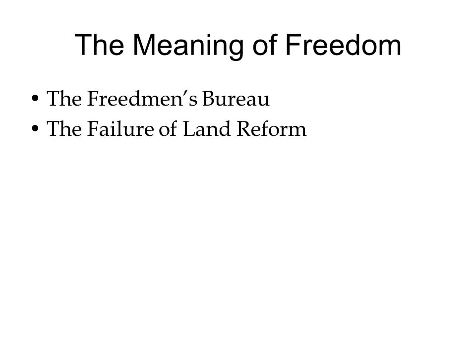 The Meaning of Freedom The Freedmen's Bureau