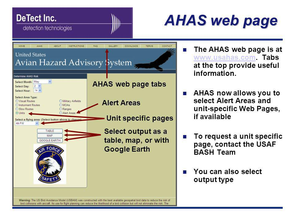 AHAS web page The AHAS web page is at www.usahas.com. Tabs at the top provide useful information.