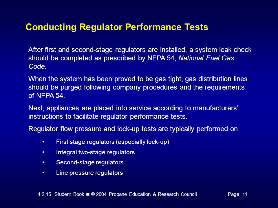 Conducting Regulator Performance Tests