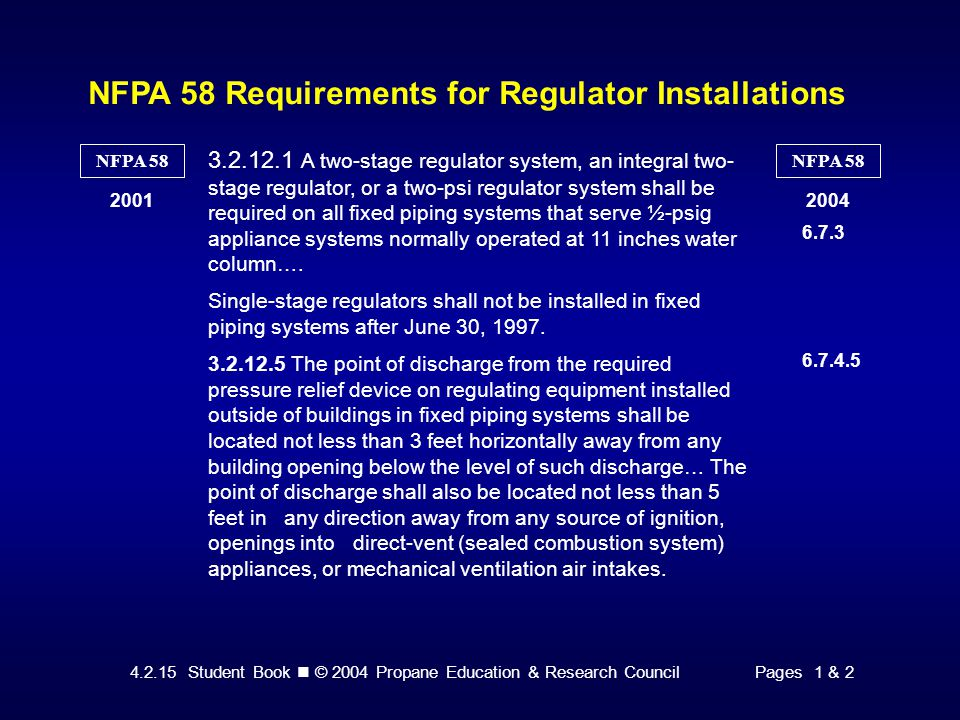 NFPA 58 Requirements for Regulator Installations