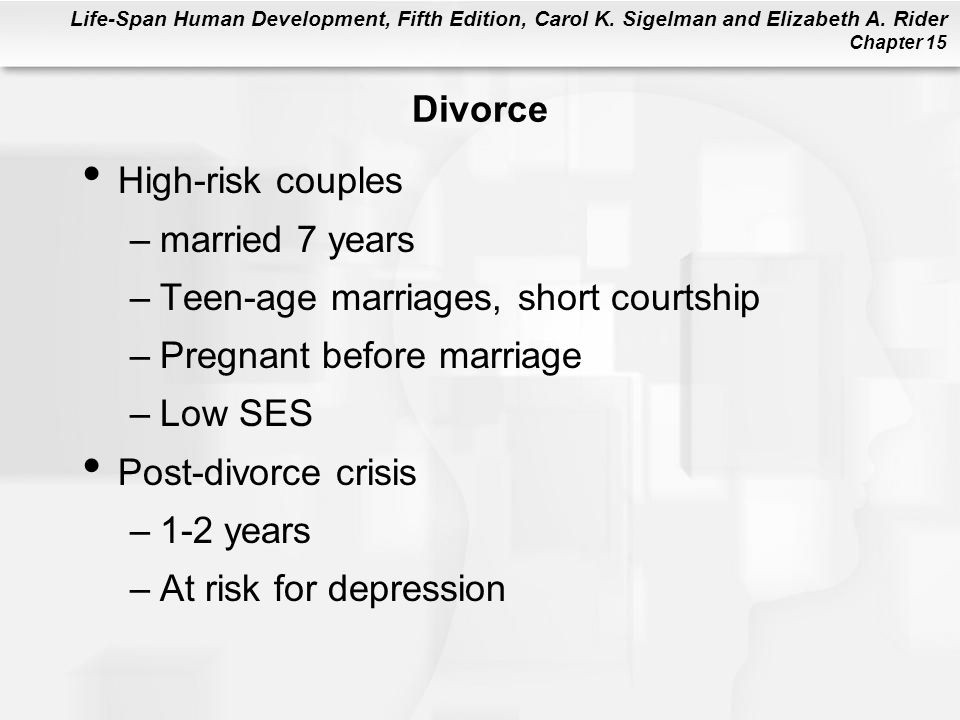 Divorce High-risk couples. married 7 years. Teen-age marriages, short courtship. Pregnant before marriage.