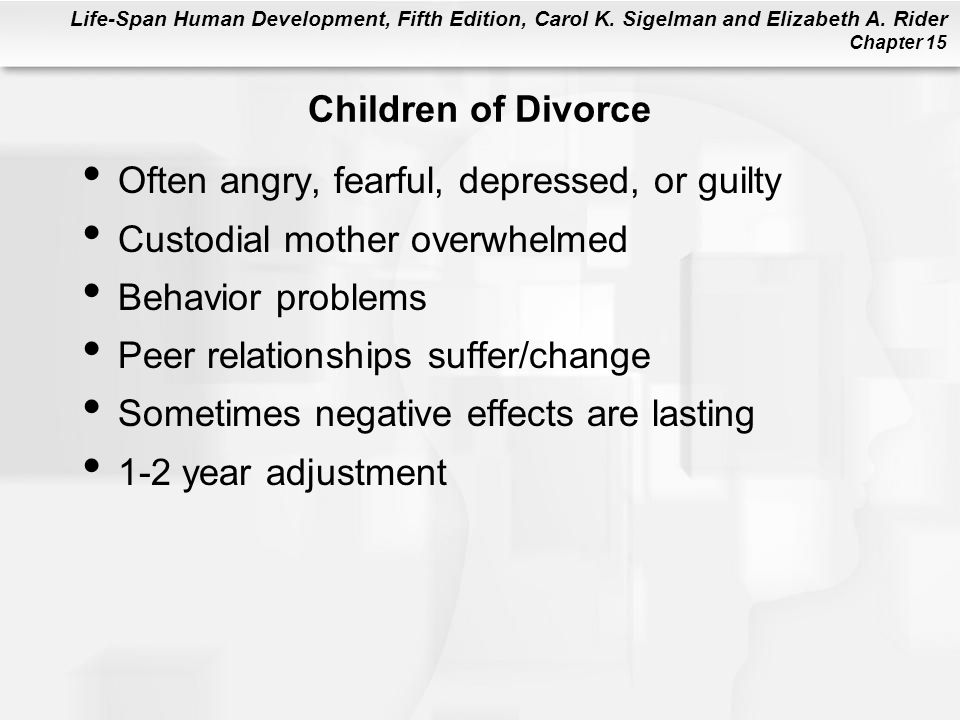 Children of Divorce Often angry, fearful, depressed, or guilty. Custodial mother overwhelmed. Behavior problems.