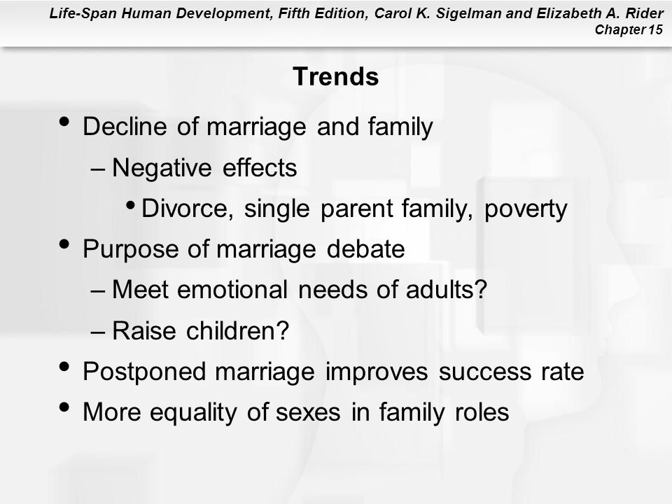 Trends Decline of marriage and family. Negative effects. Divorce, single parent family, poverty. Purpose of marriage debate.