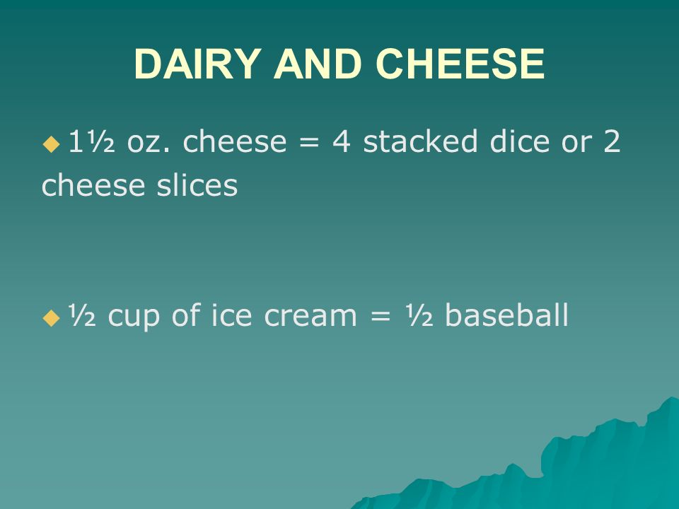 DAIRY AND CHEESE 1½ oz. cheese = 4 stacked dice or 2 cheese slices