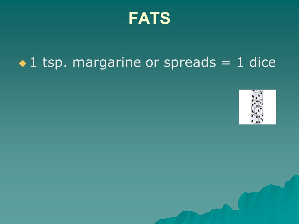 FATS 1 tsp. margarine or spreads = 1 dice