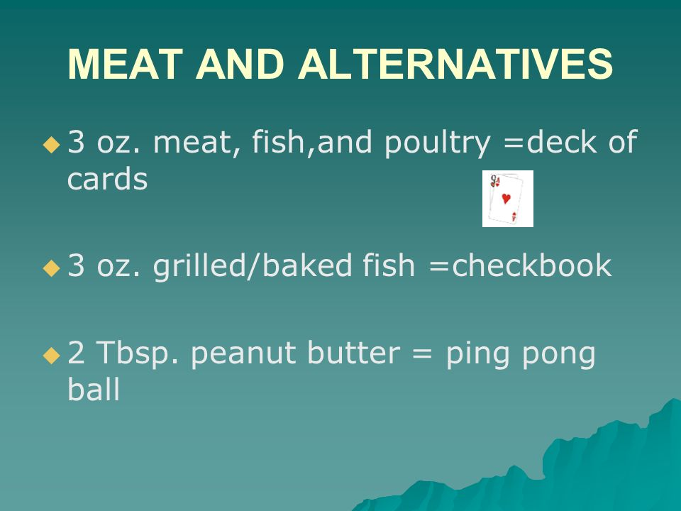 MEAT AND ALTERNATIVES 3 oz. meat, fish,and poultry =deck of cards