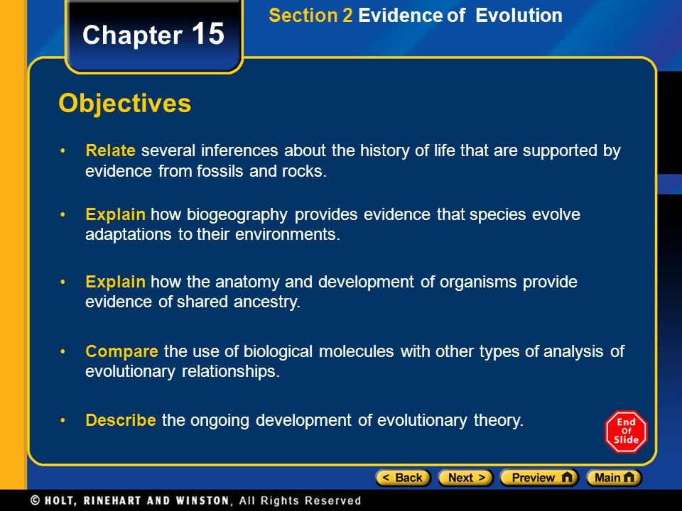 Chapter 15 Objectives Section 2 Evidence of Evolution