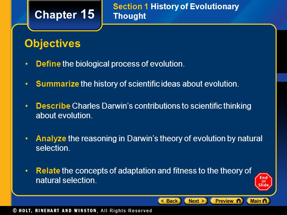 Chapter 15 Objectives Section 1 History of Evolutionary Thought