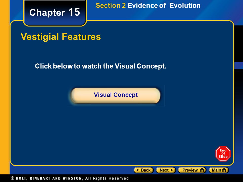 Chapter 15 Vestigial Features Section 2 Evidence of Evolution