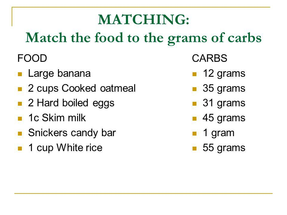MATCHING: Match the food to the grams of carbs