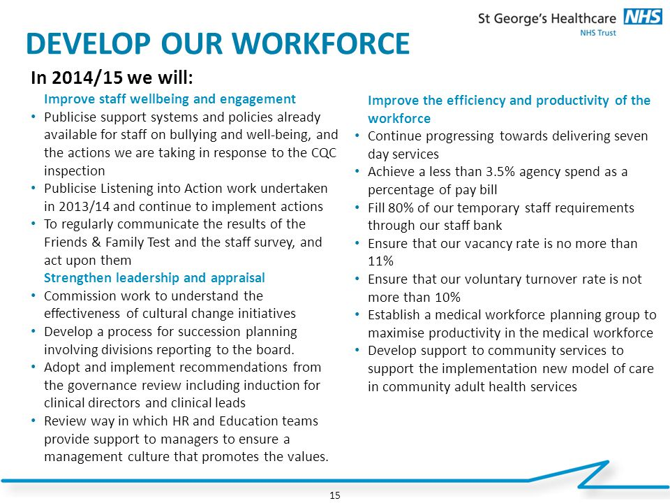 DEVELOP OUR WORKFORCE In 2014/15 we will: