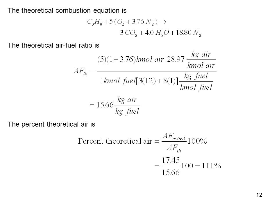 The theoretical combustion equation is