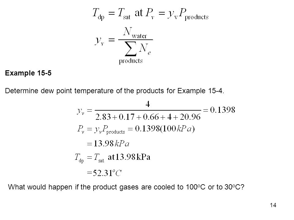 Example 15-5 Determine dew point temperature of the products for Example 15-4.