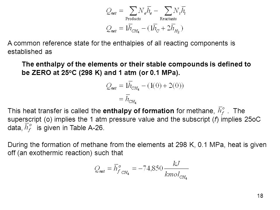 A common reference state for the enthalpies of all reacting components is established as