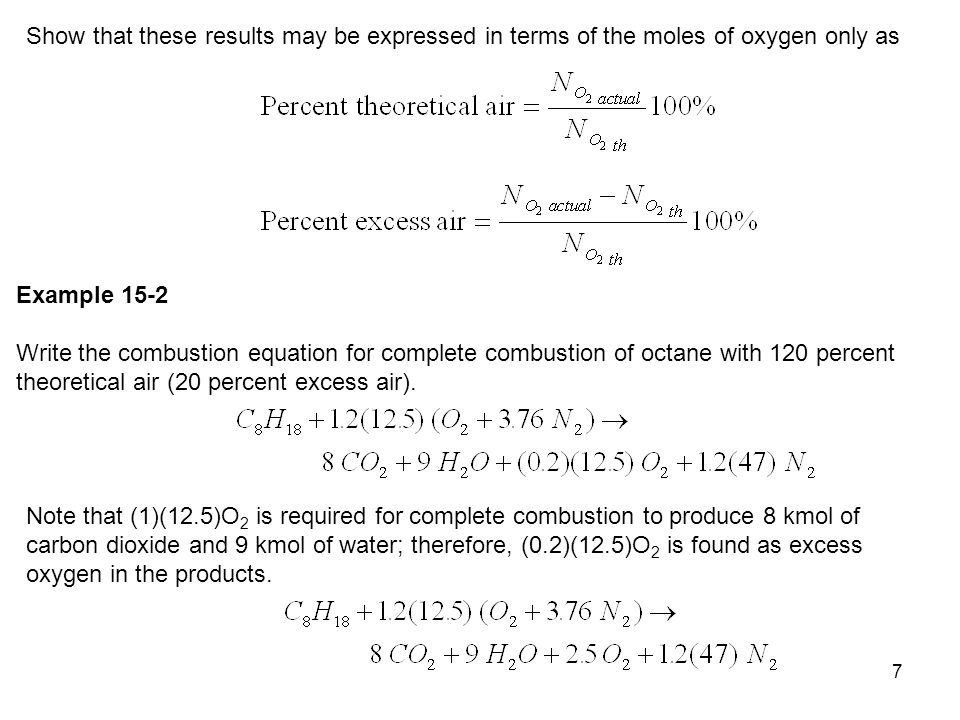 Show that these results may be expressed in terms of the moles of oxygen only as