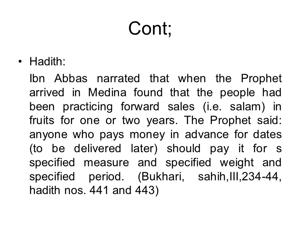 Cont; Hadith: