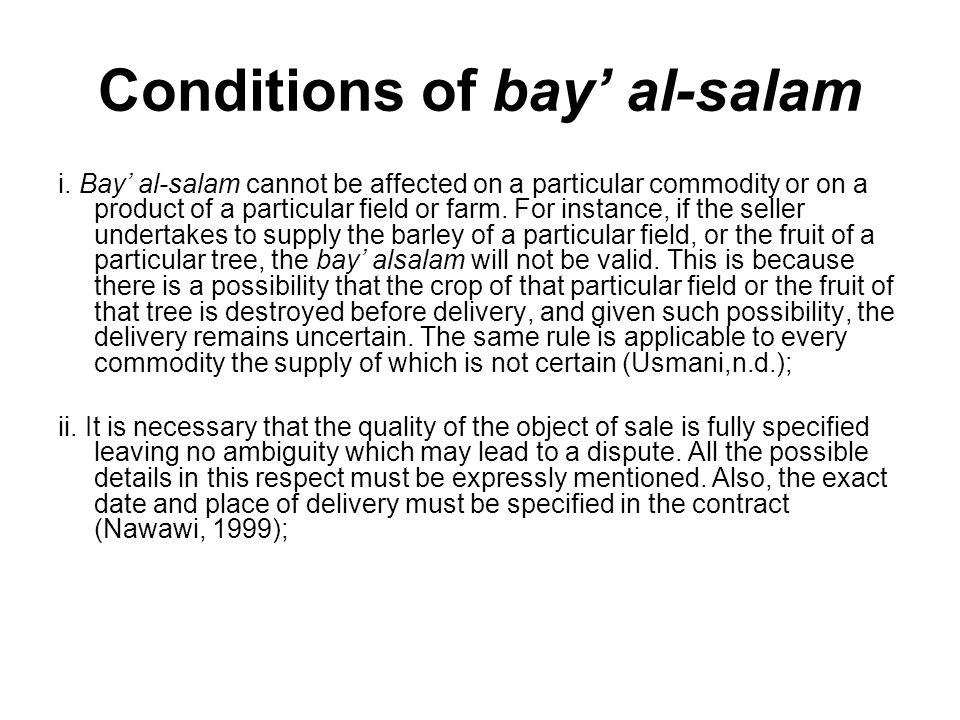 Conditions of bay' al-salam