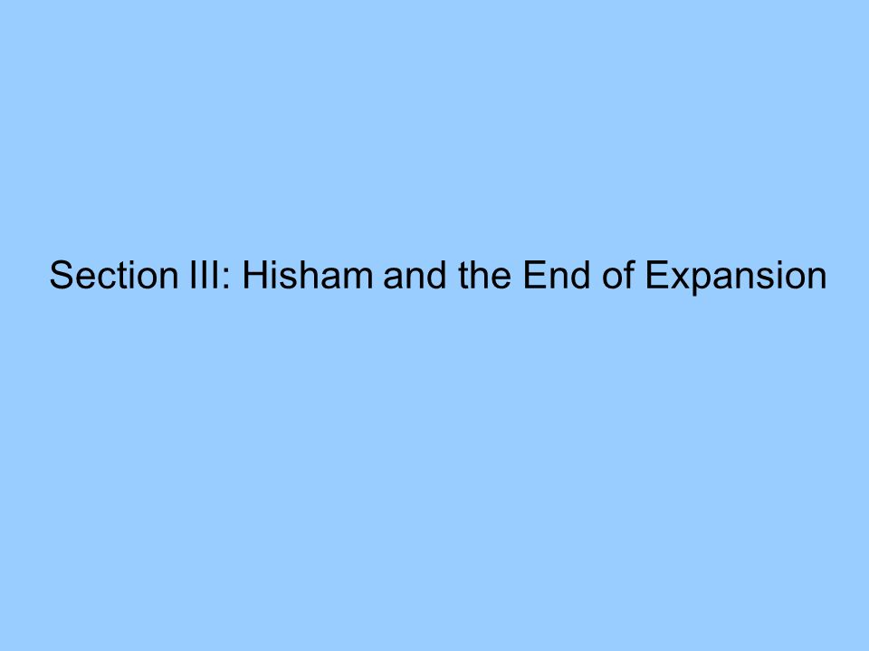 Section III: Hisham and the End of Expansion