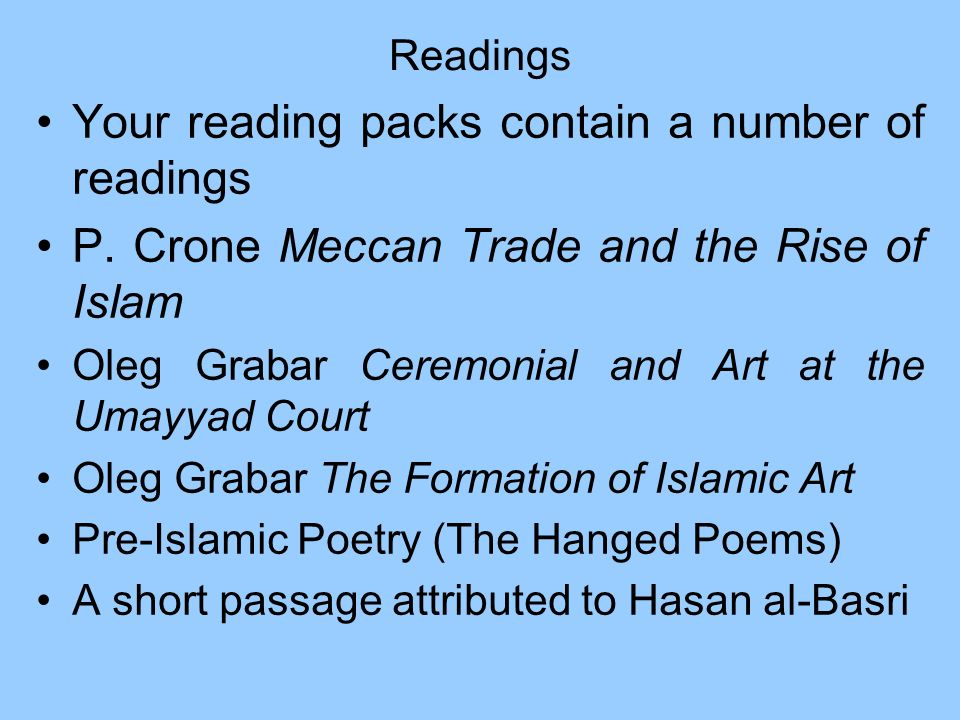 Your reading packs contain a number of readings
