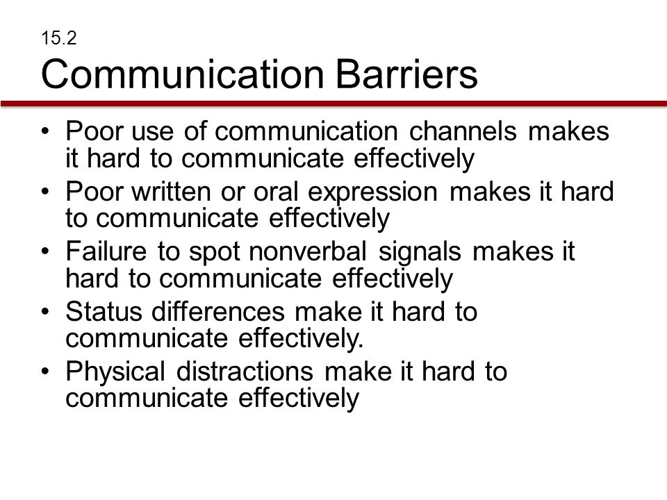 15.2 Communication Barriers