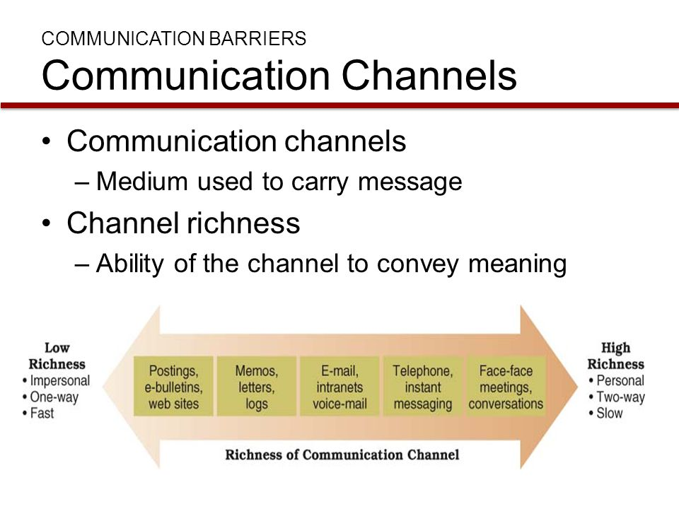 COMMUNICATION BARRIERS Communication Channels