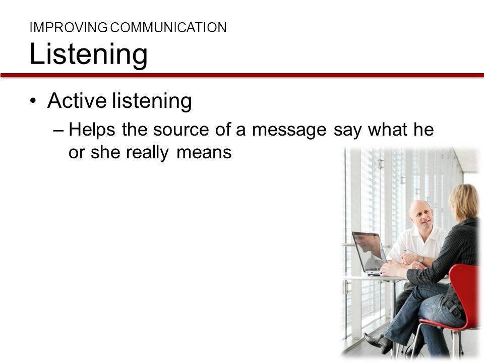 IMPROVING COMMUNICATION Listening