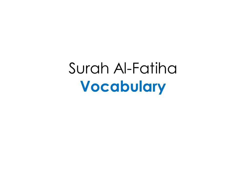 Surah Al-Fatiha Vocabulary