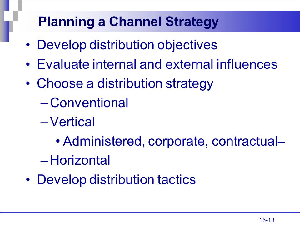 Planning a Channel Strategy