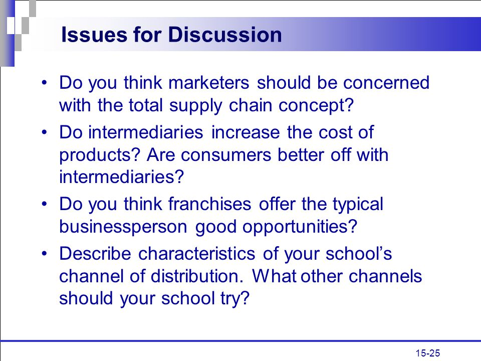 Issues for Discussion Do you think marketers should be concerned with the total supply chain concept