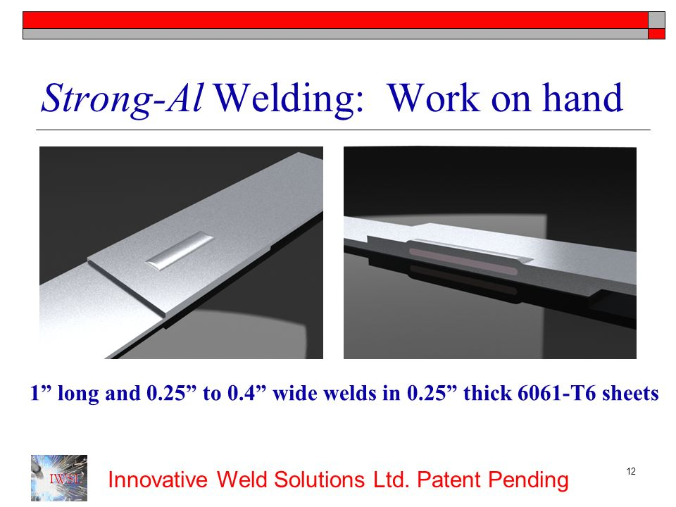 Strong-Al Welding: Work on hand