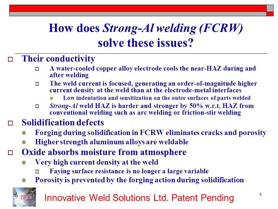 How does Strong-Al welding (FCRW) solve these issues