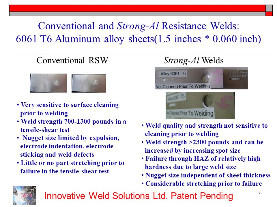 Conventional and Strong-Al Resistance Welds: 6061 T6 Aluminum alloy sheets(1.5 inches * 0.060 inch)