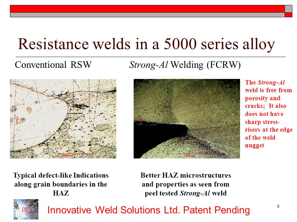 Resistance welds in a 5000 series alloy