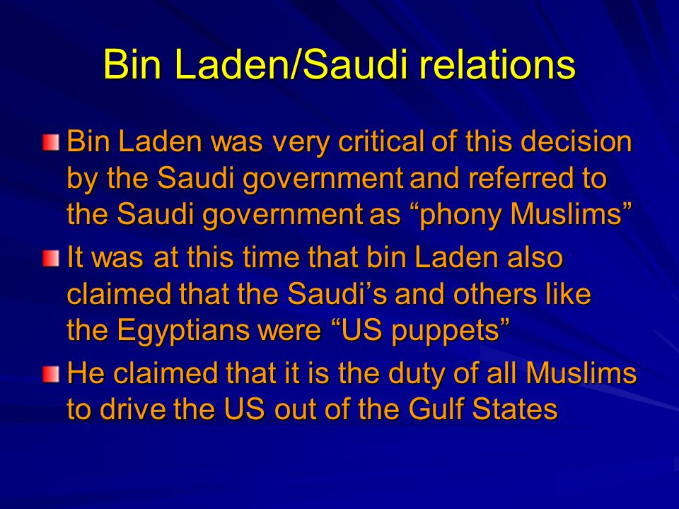 Bin Laden/Saudi relations