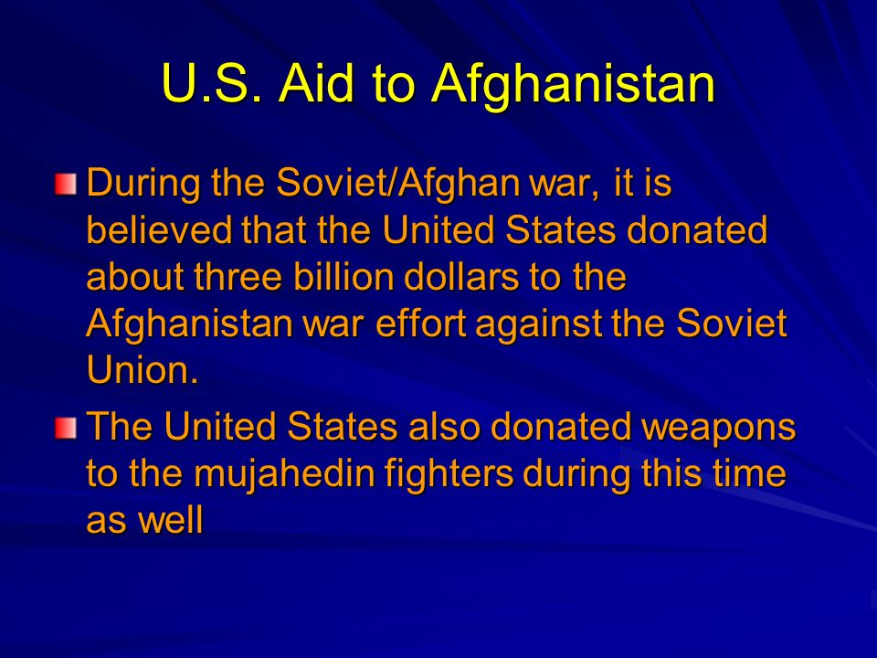 U.S. Aid to Afghanistan