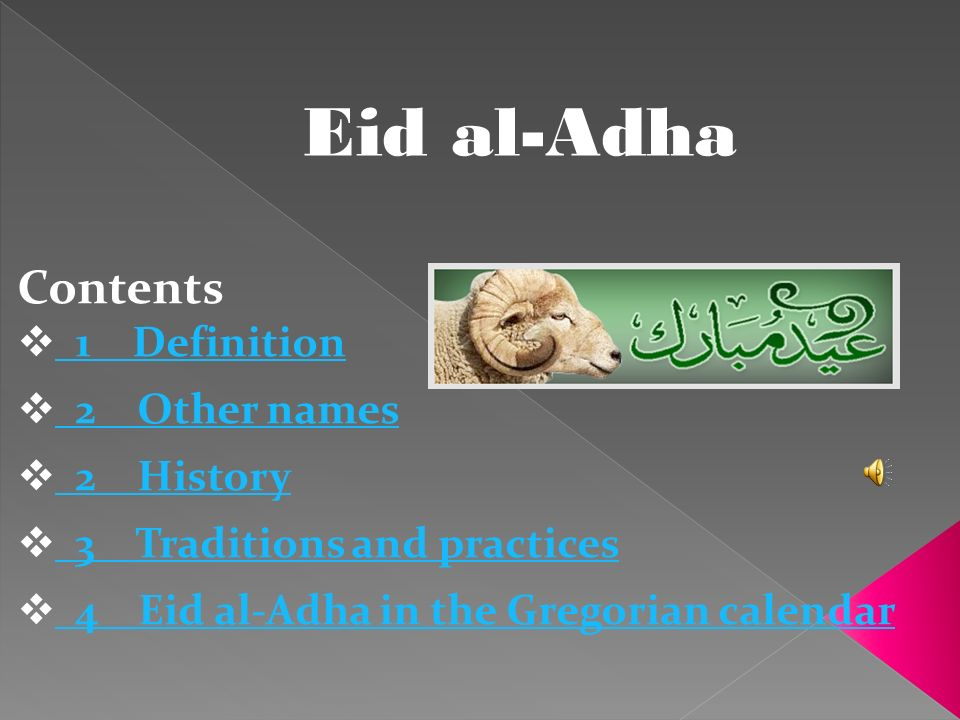 Eid al-Adha Contents 1 Definition 2 Other names 2 History