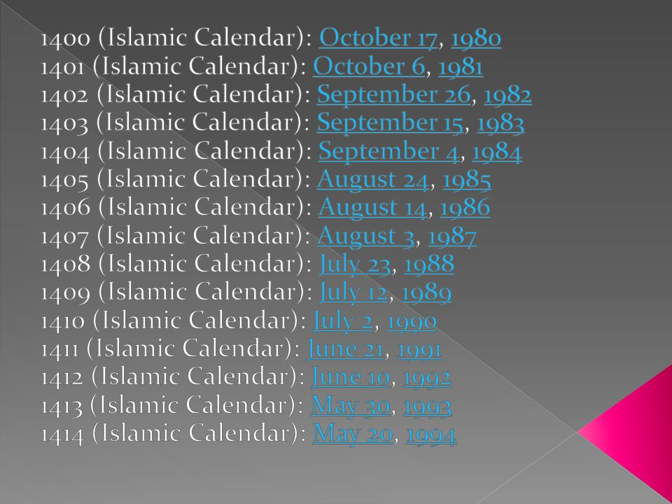 1400 (Islamic Calendar): October 17, 1980