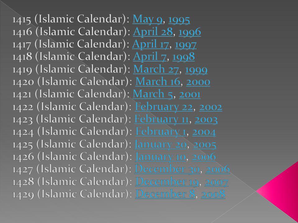 1415 (Islamic Calendar): May 9, 1995