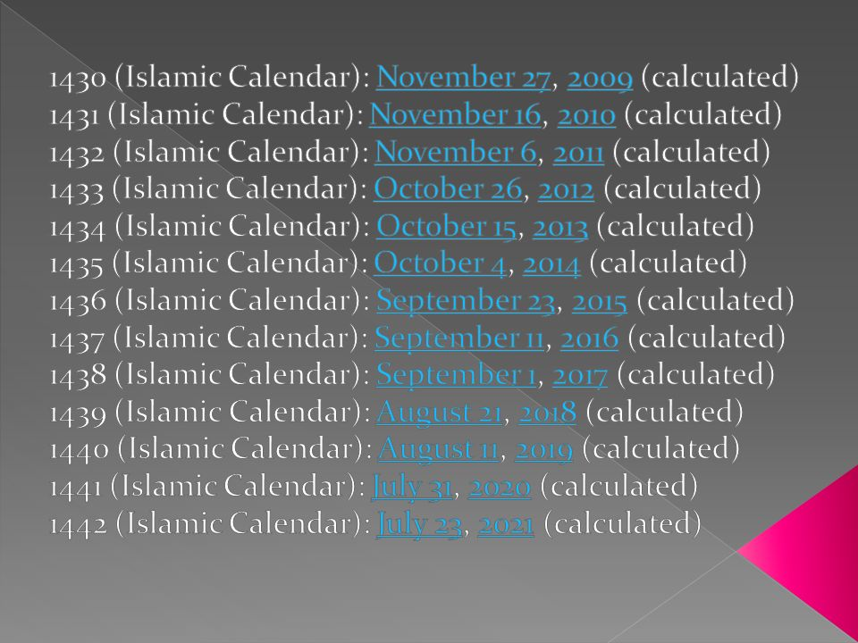1430 (Islamic Calendar): November 27, 2009 (calculated)