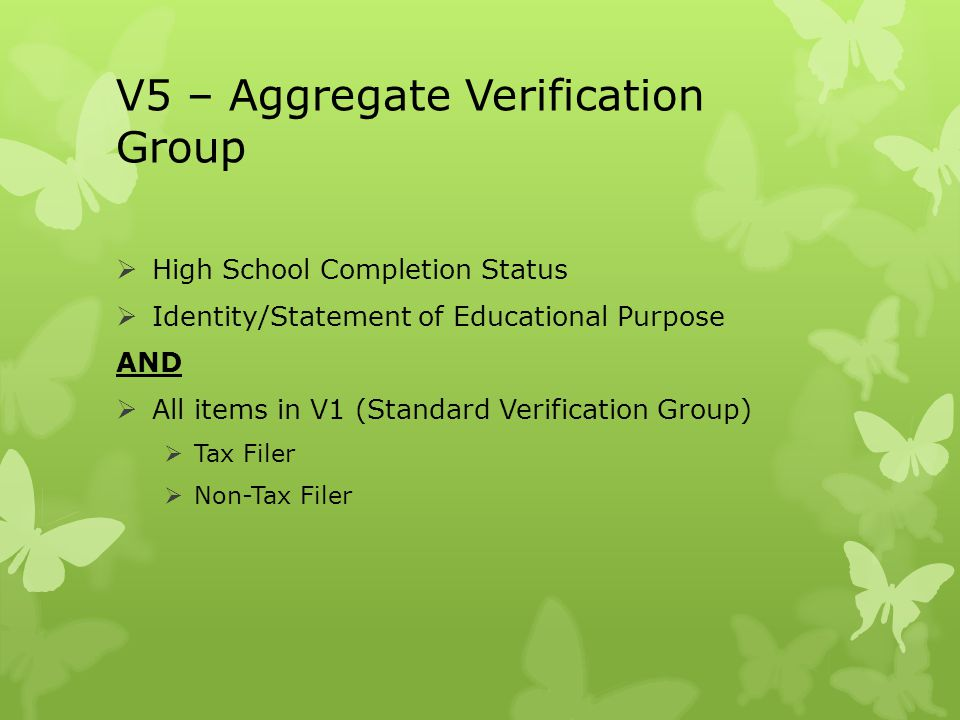 V5 – Aggregate Verification Group