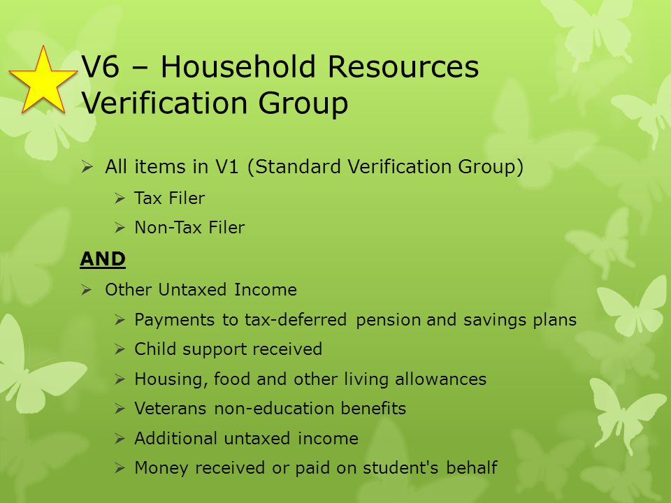V6 – Household Resources Verification Group