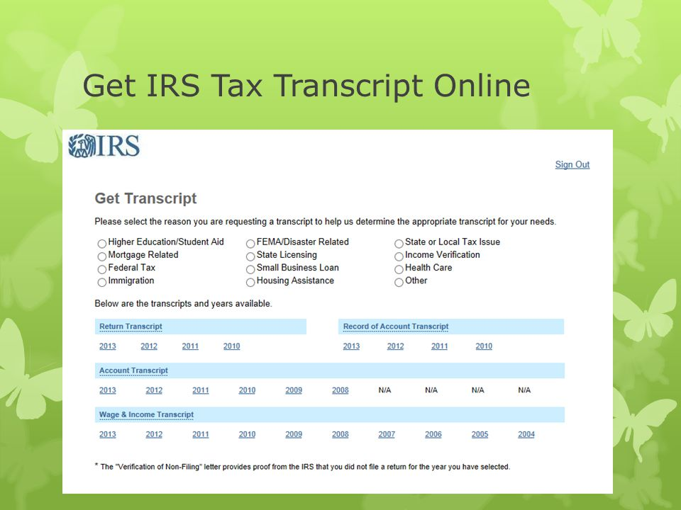 Get IRS Tax Transcript Online