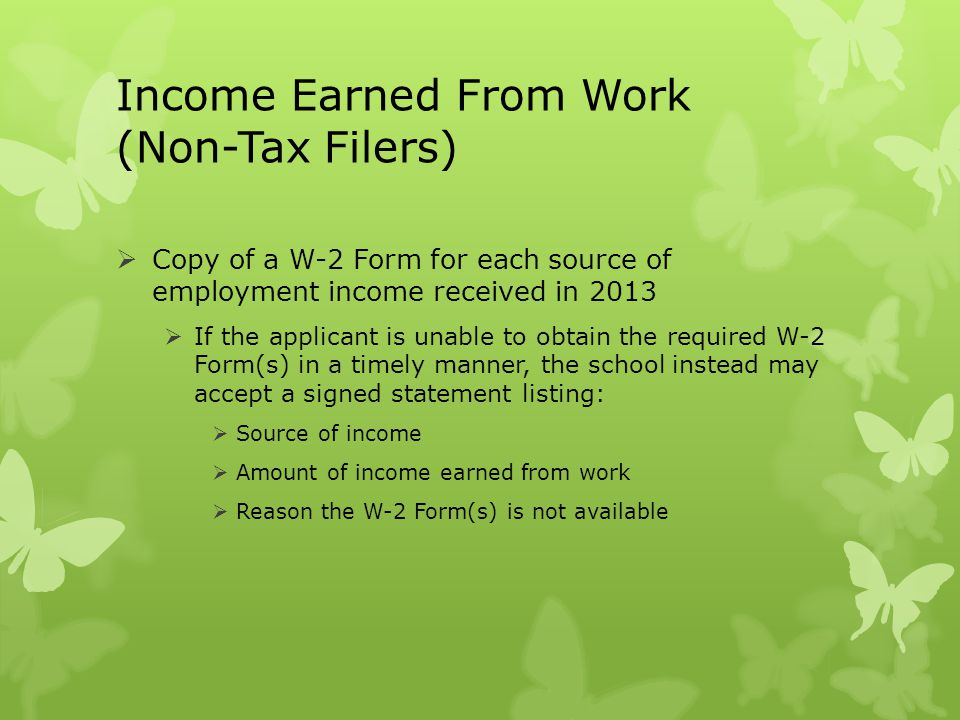 Income Earned From Work (Non-Tax Filers)
