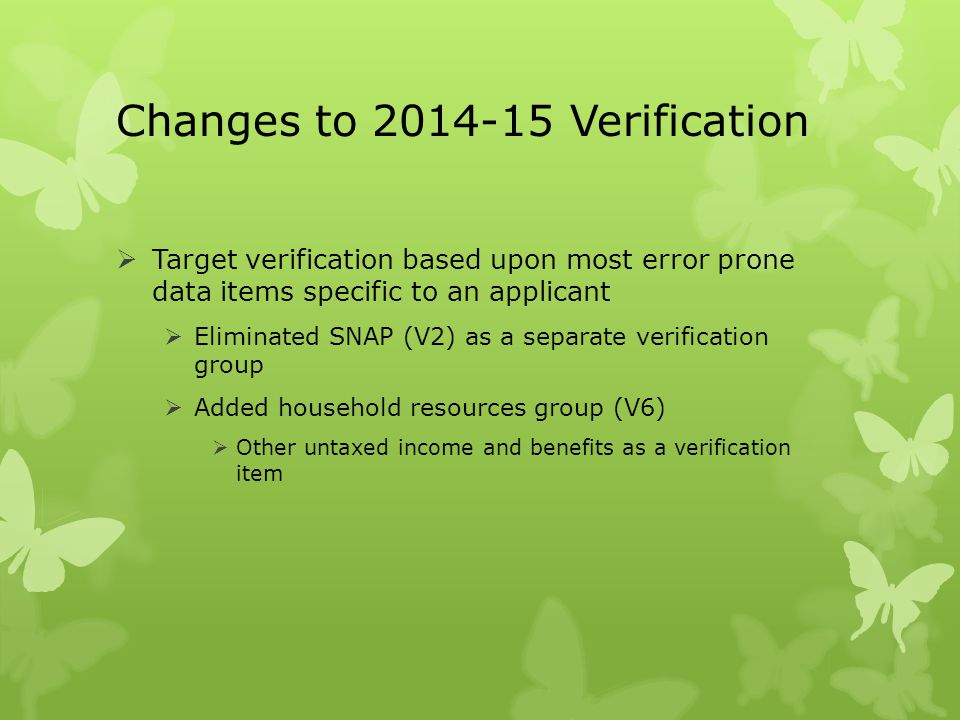 Changes to 2014-15 Verification